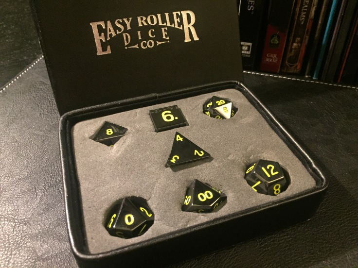 Gun Metal Polyhedral Dice Series: Yellow Numbering - 7 Piece Set With Display Case