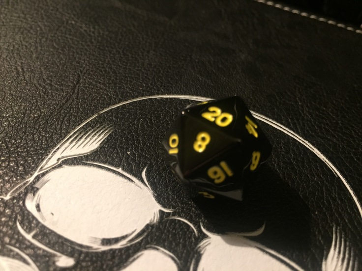 Gunmetal Yellow D20 Dice - Single Die